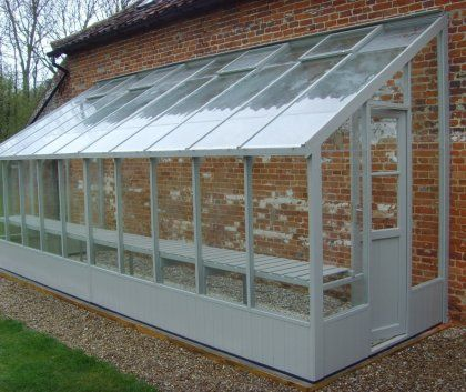 Swallow Dove Lean to wooden greenhouse 6x20: what a great idea on the side of my house would be awesome