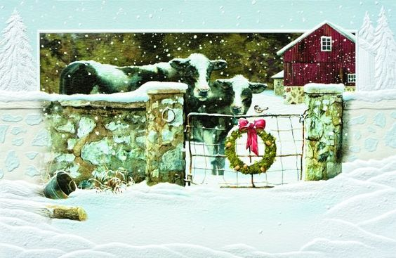 Welcoming Cow Committee Country Christmas Card