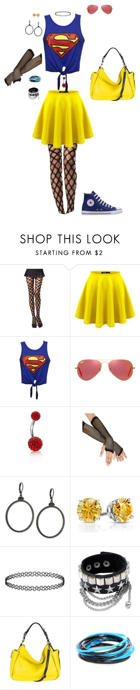 """SUPERMAN, DAH-DAH-DAHHHHHH!"" by candy-coated-doom ❤ liked on Polyvore featuring Leg Avenue, CO, Ray-Ban, Converse, Bling Jewelry, Vince Camuto, Topshop and MOFE"