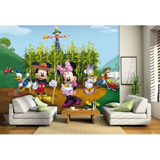 fresque murale disney mickey et donald ont une ferme papier peint poster g ant d co mickey. Black Bedroom Furniture Sets. Home Design Ideas