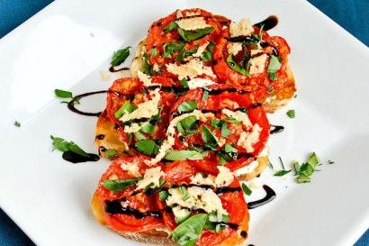 Open-Faced Roasted Tomato and Goat Cheese Sandwiches... Damn.