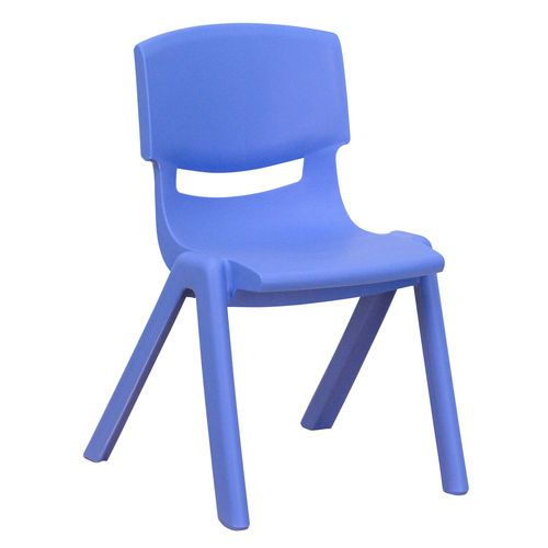 Blue Plastic Stackable School Chair With 12 Seat Height With