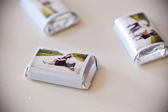 a sweet, little, custom-picture wrapped around mini chocolate bars~ {great for birthdays, showers, or weddings}