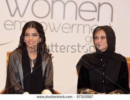 DUBAI - UAE - MARCH 10 2012: Her Highness Princess Ameerah Al Taweel wife of Prince Alwaleed bin Talal with Sahar Al Madani at the Women Empowerment Group on March 10, 2012 in Atlantis hotel Dubai. - stock photo