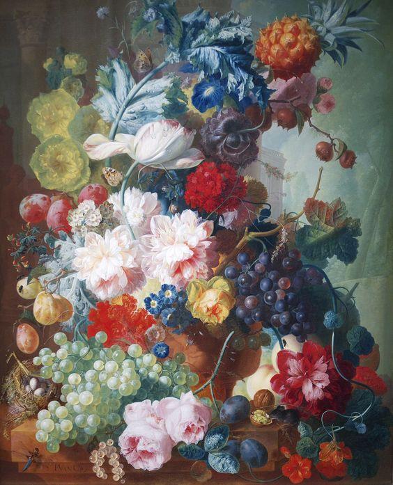 Fruit & Flowers in a Terracotta Vase  By Jan van Os, 1777-8. National Gallery, London