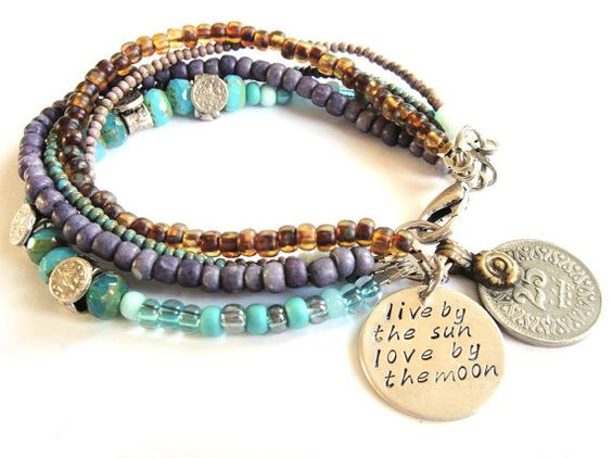 Bohemian hippie bracelet with multiple strands of by OOAKjewelz
