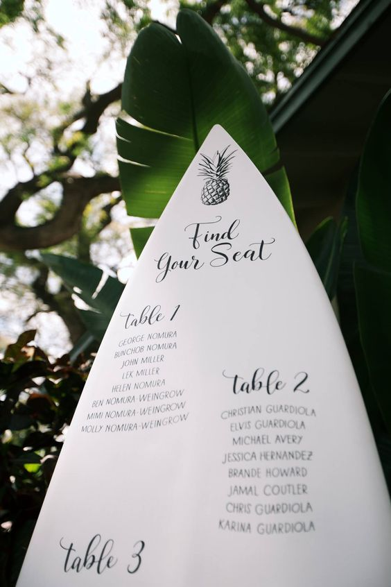 Surfboard wedding seating chart - Anna Kim Photography