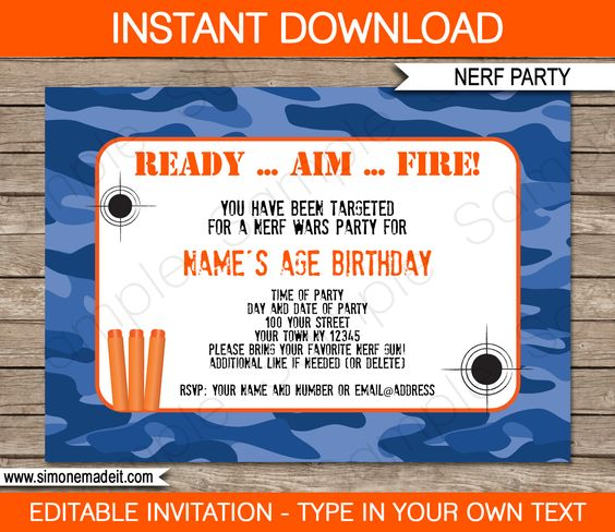 nerf wars birthday invitation - instant download - printable nerf, Party invitations