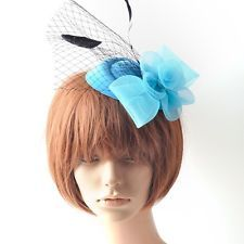 WOW! lady fascinator pillbox hat veil hair clips accessory wedding blue feather : Want more? https://bitly.com/showmemorepls