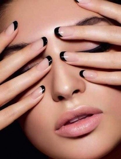 Resultado de imagen de manicura francesa transparente y negra