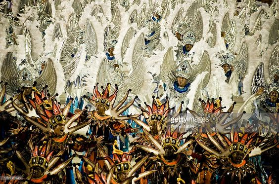 Stock Photo : Two groups of young dancers, Rio Carnival