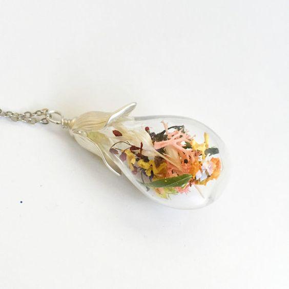 Mini Dried Flower Glass Water Drop Necklace by FloraStudio2014