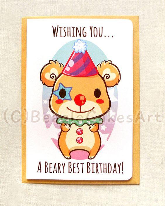 Happy Birthday Bear Note Card: Beary Birthday by BeagleCakesArt