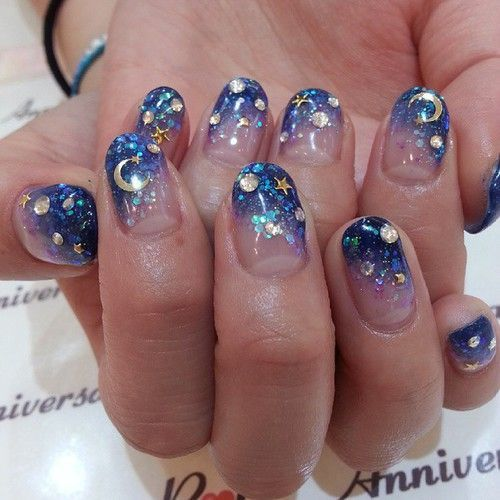 Elegant Manicure And Cute Image Night Mani Moon Stars Sparkles Sequins Blue Silver Trendy Nails Star Nails Manicure