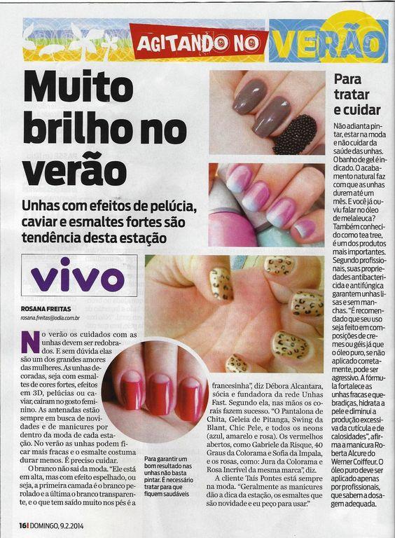 """""""Muito brilho no verão"""" - #UnhasFast na Revista Já É - jornal O Dia #RiodeJaneiro"""