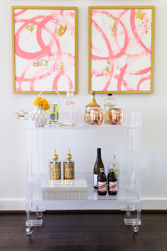 Brass + Lucite Bar Cart