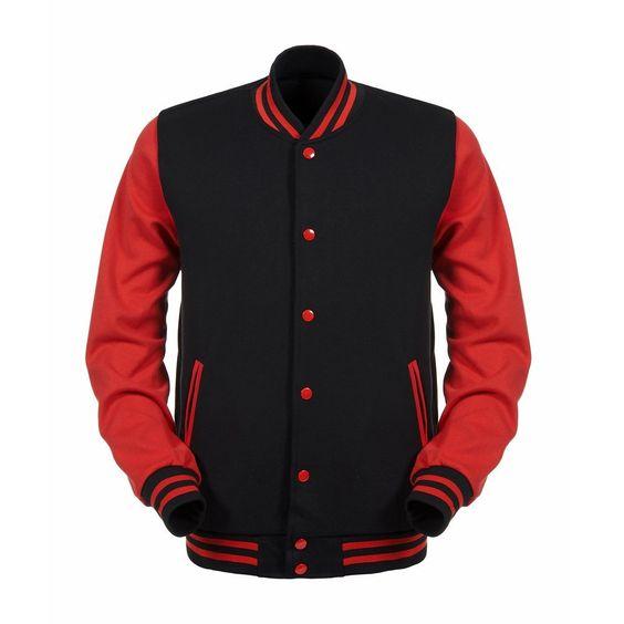 Amazon.com: Angel Cola Black & Red ALL Cotton Varsity Baseball ...