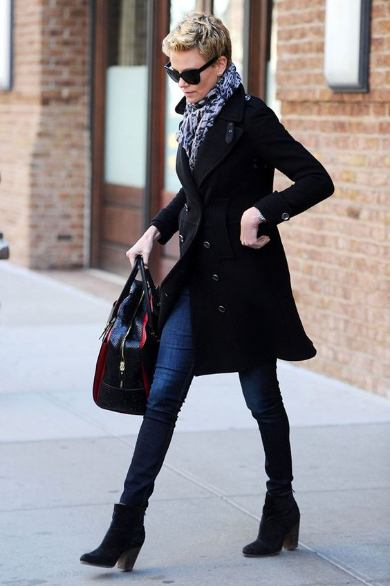 Love her whole outfit - love the bag, and Rag & bone booties