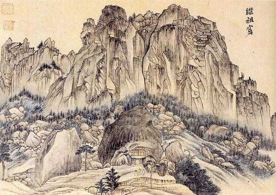 (Korea) 계조굴, in Mt Geumgang, 1788 금강4군첩 by Danwon Kim Hong-do (1745-1806). color on paper.