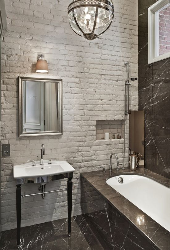 33 Amazing Bathroom Design With Brick Wall Tiles With Images Brick Bathroom Traditional Bathroom Brick Tiles Bathroom