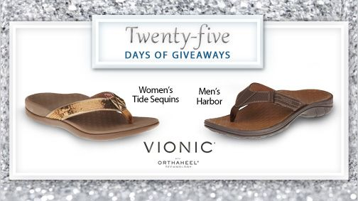 It's day 13 and we are excited to give away sandals from Vionic with Orthaheel Technology.  Vionic with Orthaheel Technology helps provide heel pain relief while improving body alignment, posture and walking gait. #25DaysofGiveaways