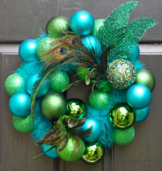 Peacock Fall or Christmas Wreath: