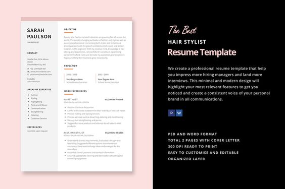 Hair Stylist Resume Template by Elissa Bernandes on - hair stylist cover letter