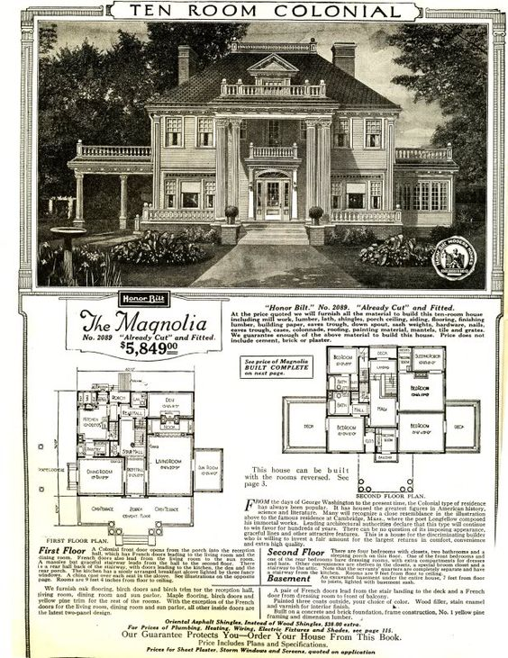 The magnolia c 1918 model house available through sears for Magnolia house plans