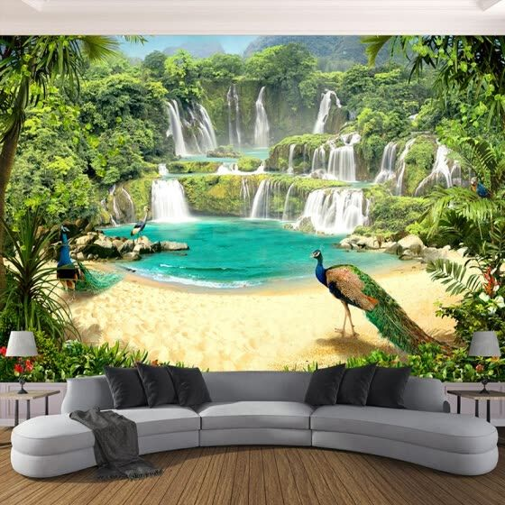 Online Shopping For Popular Wall Stickers Murals Custom 3d Wallpaper Murals Waterfall Peacock Lake Wallpaper Living Room 3d Wallpaper Mural Mural Wallpaper