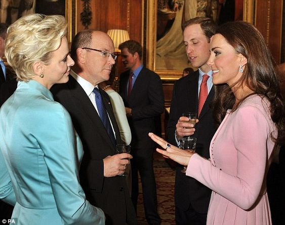 Prince William of Great Britain chatted to Prince Albert II of Monaco while Kate entertained his wife Charlene.