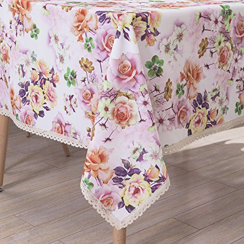 Wewoch White Red Floral Print Rectangle Tablecloth Water Resistant Wrinkle Free And Stain Resista Tablecloth Fabric Stain Resistant Fabric Rectangle Tablecloth