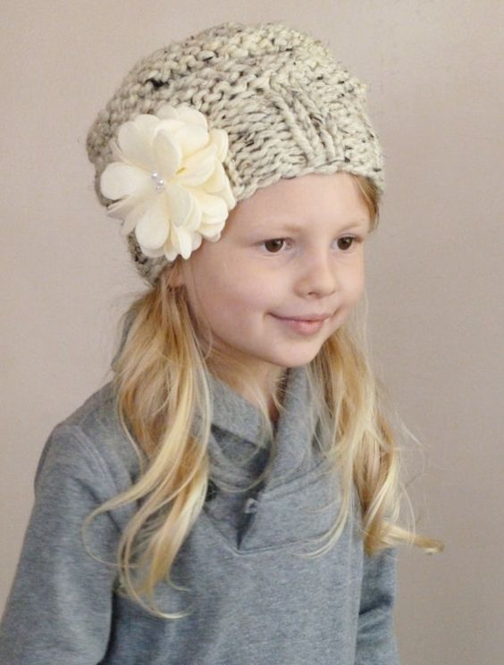Slouchy Toddler Hat with Felt Flower & Pearls CHOOSE COLOR, Knit Toddler Girls Hat, Knit Kids Hat, Slouchy Beanie Toddler Girls by BoPeepsBonnets, $32.00