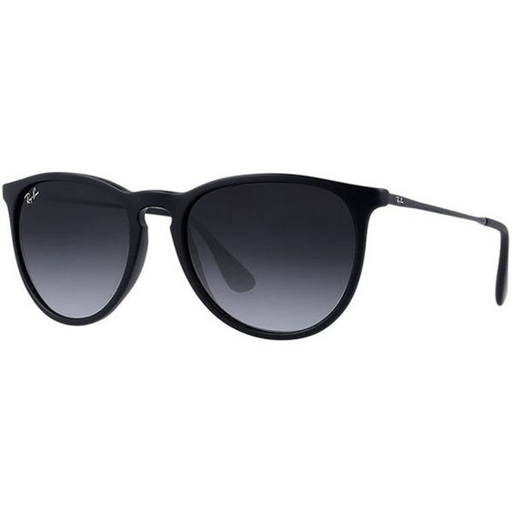 Ray-Ban Erika featuring polyvore, fashion, accessories, eyewear, sunglasses, glasses, ray ban, women, black lens sunglasses, black glasses, black round glasses, oversized black sunglasses and ray-ban