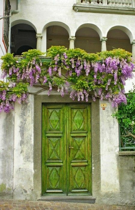 Must have a green door and pretty flowers that drape over it