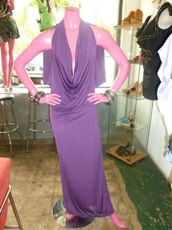 Reversible plunging neckline dress with open back in purple! Can be worn forwards or backwards!