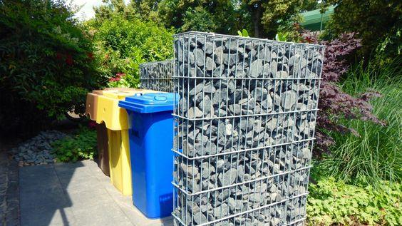 Gabionenzaun – der perfekte Sichtschutz um Mülltonnen stilvoll unterzubringen.  #gabionenzaun #gabionen #zaunbau #zaunbauer #mülltonnenverkleidung #mülltonnenabdeckung #mülltonnenbox