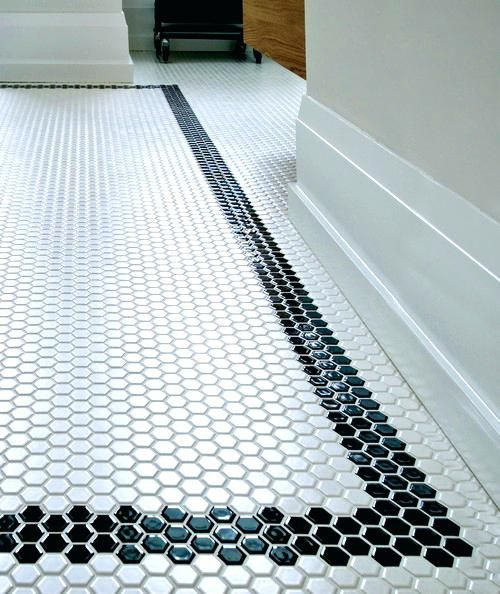 Black And White Hexagon Floor Tile Uk What Finish Is The Tiles Modern White Bathroom Designs Penny Tiles Bathroom White Hexagon Tiles