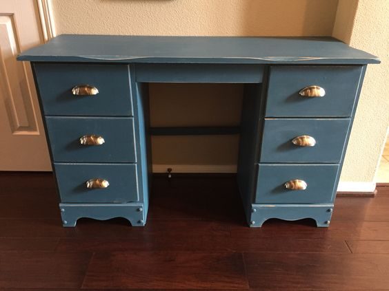 Vintage desk refinished in ASCP Aubusson Blue. Distressed.