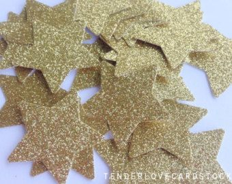 100 Gold Glitter Star Punch Die Cuts 1 3/8 inch - Embellishment, cards, scrapbook, table decoration, confetti
