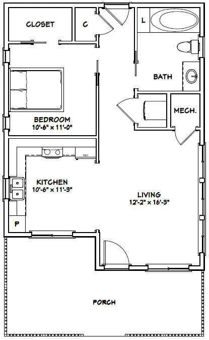 24x32 House 24x32h2a 725 Sq Ft Excellent Floor Plans One Bedroom House Tiny House Floor Plans Small House Floor Plans