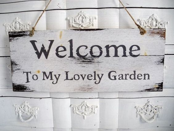 Welcome garden schriftzug shabby holz garten holzschild for Deko schilder garten