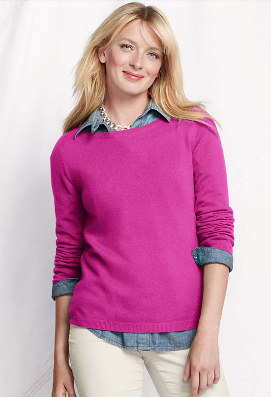 Love the pink cashmere sweater and collared shirt underneath!