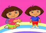 Dora vuole farsi fare un dipinto e si è rivolta ad un pittore eccezionale, il migliore del mondo: Tu! Dopo aver fatto lo schizzo, resta soltanto il colore. Buon lavoro!