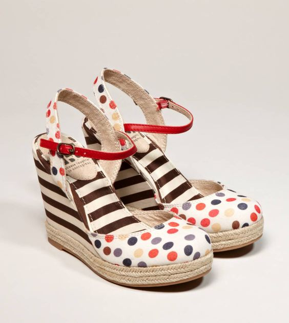 Everything I love in one: polka dots, strips, and wedges.