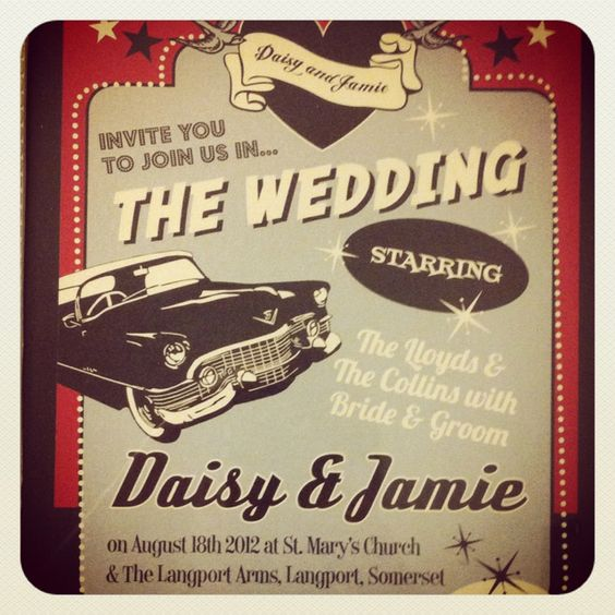 THE MOST AWESOME 50's Rockabilly theme wedding invites EVER!!: