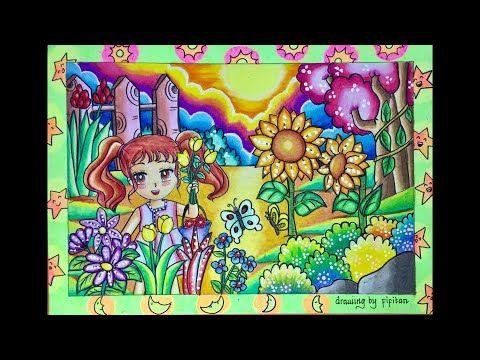 Cara Menggambar Pemandangan Di Taman Kebun Bunga Dg Gradasi Warna Oilpastel Fabercastell 60 Youtube Menggambar Bunga Gambar Lanskap Gambar Simpel