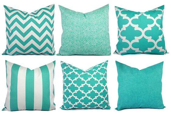 Outdoor Pillow Covers - Aqua Pillow - Teal Pillow Cover - Patio Pillow - Turquoise Pillows - Chevron Pillow - Solid Pillow - Quatrefoil