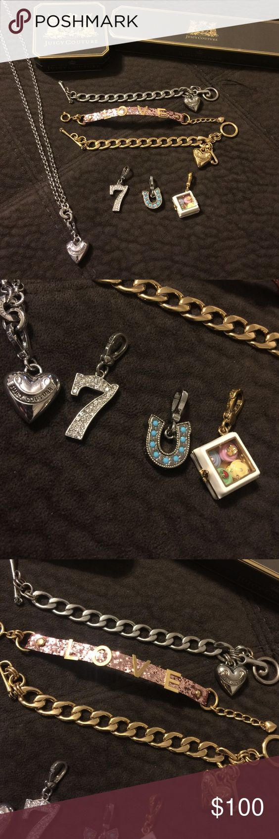 Juicy Couture Jewelry Lot Bracelets Charm Necklace All Excellent Used  Condition Silver Charm Bracelet Just