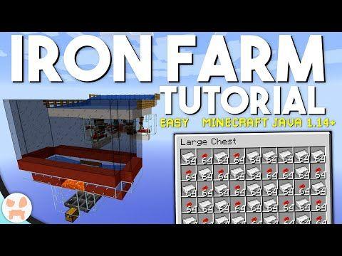 Minecraft 1 14 4 Iron Farm Tutorial Easy Automatic Youtube Minecraft Minecraft Iron Minecraft Blueprints