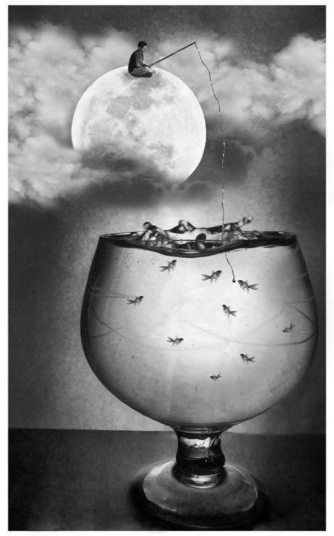 ♂ Dream imagination surrealism black & white Fishing Fun by Naman Verma. S):